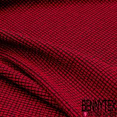 Maille Viscose Polyamide Elasthanne Motif Pixel Rouge fond Noir
