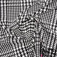 Maille Viscose Polyamide Elasthanne Motif Pied de Coq et Pied de Poule Blanc Noir