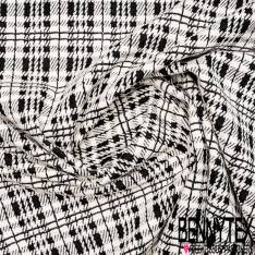 Maille Viscose Polyamide Elasthanne Motif Effet Carreaux Fantaisie Noir et Blanc