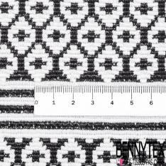 Maille Viscose Polyamide Elasthanne Motif Jacquard Rayure Noir et Blanc