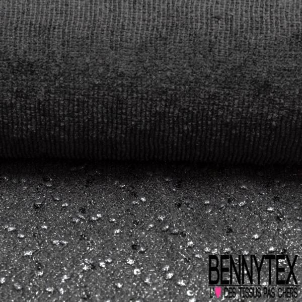 Maille Polyester élasthanne avec petit pompon et sequin brodé noir lurex argent