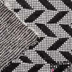 Maille Viscose Polyamide Elasthanne Motif Jacquard Géométrique Noir et Ecru