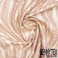 Brocart Gaufré Imprimé Vague Sinusoïdale Rose et Or fond Or Blanc