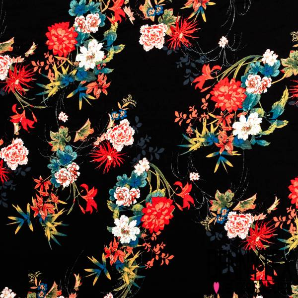 Crêpe Viscose Imprimé Bouquet Pivoine Japonisante fond Noir