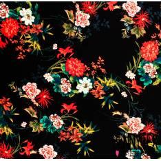 Polyester satiné plissé imprimé Bouquet Pivoine Japonisante fond Noir