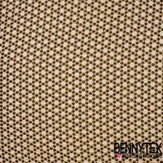 Brocart Gaufré Imprimé Effet Quadrillage Pois Noir et Or fond Or Blanc