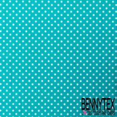 Popeline de Coton Pois Blanc fond Turquoise Linna Morata