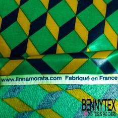 Coton Enduit Impression Cubik Vert Moutarde Pétrole Linna Morata