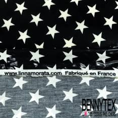 Coton Enduit Impression Grosse Etoile Blanche fond Navy Linna Morata