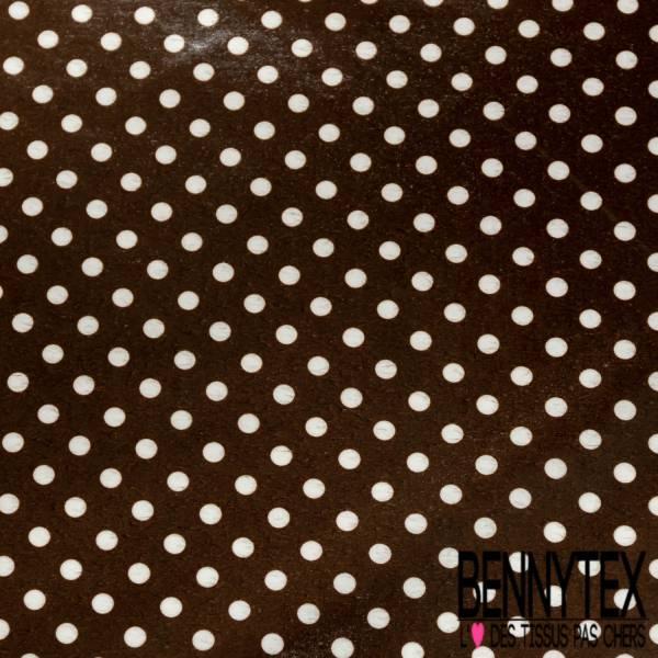 Coton Enduit Impression Pois Blanc fond Café Linna Morata