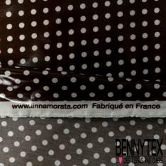 Coton Enduit Impression Pois Blanc fond Chocolat Noir Linna Morata