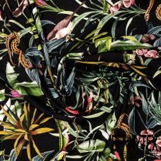 Fibranne Viscose Noir Imprimé Forêt Tropicale et ses Habitants fond Noir