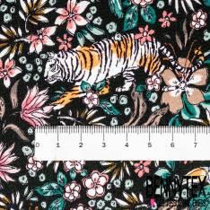 Fibranne Viscose Noir Imprimé Tigre et Toucan dans la Savane fond Noir