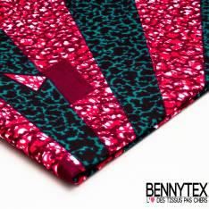Wax Africain N° 385: Motif Géométrique effet Léopard Moderne Fushia Turquoise Noir