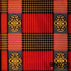 Wax Africain N° 392: Motif Nappe à Carreaux Rouge et Noir Fantaisie