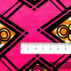 Wax Africain N° 394: Motif Losange Fantaisie Marbré Jaune Cappuccino fond Fushia
