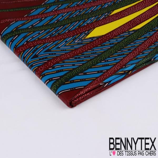 Wax Africain N° 397: Motif Grand Rayon Multicolore fond Lie de Vin