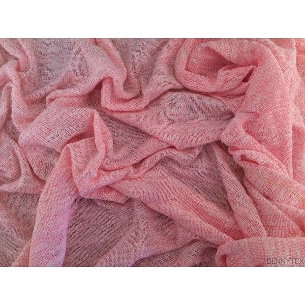 Coupon 3m Jersey Polyester Viscose Blanc Rose fluo