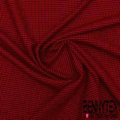 Maille Viscose Polyester Pied de Poule Noir et Rouge