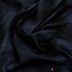 Coton viscose Doux tartan Marine Noir