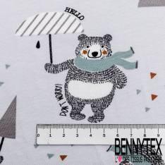 Jersey Coton Imprimé Ours avec son Parapluie qui danse sous la Pluie fond Gris Perle