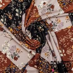 Fibranne Viscose Imprimé Patchwork Floral Camaïeu Marron Noir Vieux Rose