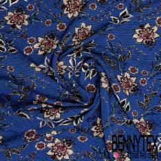 Crêpe Viscose Imprimé Fleurs Vintage fond Rayure Verticale Blanche et Bleu Roi