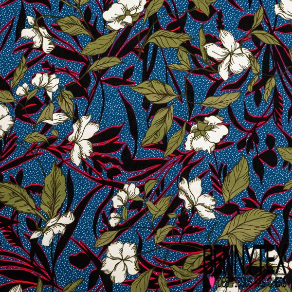 Crêpe Viscose Imprimé Fleur Tropicale fond Plumeti Blanc Bleu Roi