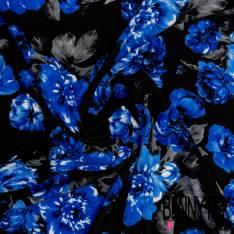 Maille Gaufrée Imprimé Grosse Fleur Bleu Roi fond Noir