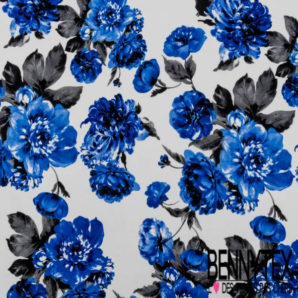 Maille Gaufrée Imprimé Grosse Fleur Bleu Roi fond Blanc