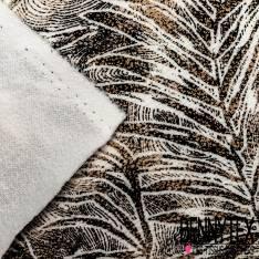 Maille Gaufrée Imprimé Multitude Grande Feuille Or Vieilli Rosé et Noir fond Blanc