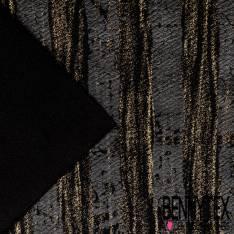 Maille Gaufrée Imprimé Rayure Verticale Striée Bronze er Laqué Noir Usé fond Noir