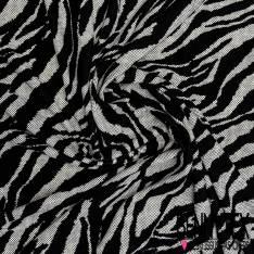 Maille Gaufrée Imprimé Zèbre Marbré et à Pois Noir et Blanc