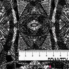 Maille Gaufrée Imprimé Tribal Noir fond Blanc