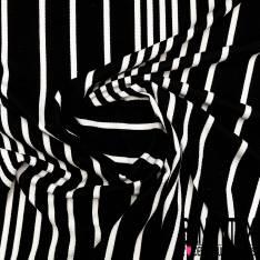 Maille Gaufrée Imprimé Rayure Verticale Noir Blanc