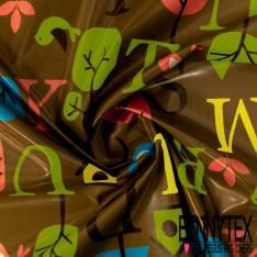 Coton Enduit Impression Alphabet dans Forêt fond Capuccino Linna Morata
