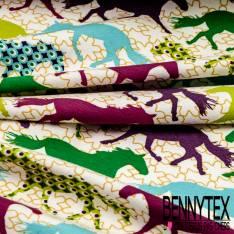 Jersey Coton Imprimé Chevaux Anis Turquoise Fushia Magnolia fond Blanc