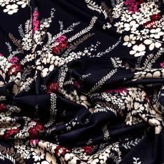 Maille Jersey Crêpée Imprimé Motif Bouquet Floral Champêtre fond Bleu Nuit