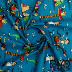 Coton imprimé Indien Tipie Cheval Totem fond Bleu Azur