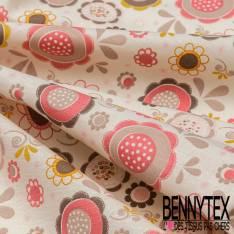 Coton imprimé Grosse Fleur Naïve Seventies fond Crème