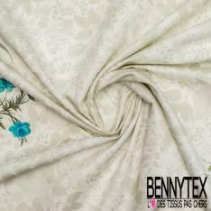 Gabardine Coton Sergé Double Base Motif Ribambelle de Fleurs SAuvage fond Fleur Fondue Perle Blanc cassé