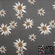 Gabardine Coton Motif Edelweiss Blanche fond Anthracite
