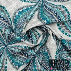 Gabardine Coton Motif Grand Trègle 4 Feuilles Fantaisie Camaïeu Bleu fond Fantaisie Blanc Gris Perle