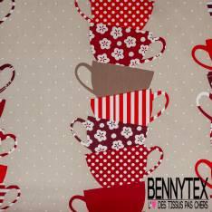 Coton imprimé Pyramide de Cup of Tea fond Mastique Pois Blanc