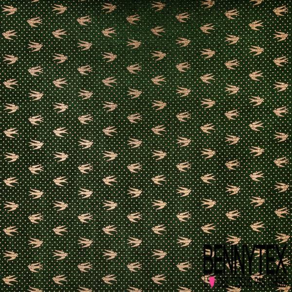 Maille Polyester Brillante Imprimé Envol Hirondelle et Pois Or fond Vert