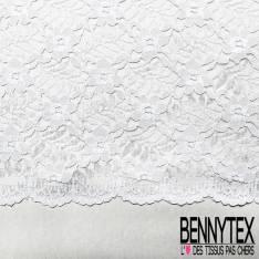 Dentelle Bloquée Polyamide Blanc Bordure Double Base Fantaisie