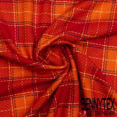 Toile Coton Souple Nattée à Carreaux Esprit Prince de Galles Camaïeu Rouge Orange