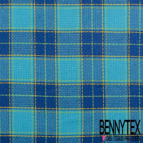 Toile Coton Souple Nattée à Carreaux Esprit Prince de Galles Camaïeu Bleu
