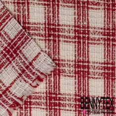 Toile Coton Souple Nattée à Carreaux Rouge et Ecru