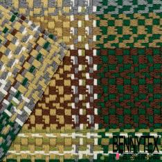 Toile Coton Souple Nattée à Carreaux Ocre Vert Sapin Gris Marron